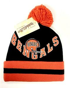 Cincinnati Bengals Mitchell & Ness Knit Pom Ball Top Beanie Hat - New with Tags