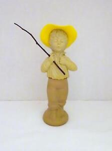 Vintage AVON CATCH-A-FISH Field Flowers Cologne in Fishing Boy Figurine Bottle