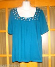 WOMEN'S TOP WITH GEMSTONES - 14/16W - TURQUOISE BLUE - PERFECT FOR HOLIDAYS!