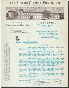 Facture - Les Fils de Pierre Fournier exportation de Gruyère à Seyssel 1931