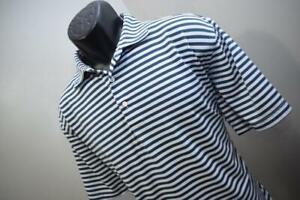 Peter Millar Summer Comfort Golf Polo Striped Athletic Golf Shirt Mens Sz Large