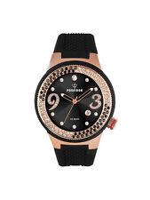 POSEIDON Damen-Armbanduhr  Analog Silikonband UP00426 Schwarz/Rosé UVP 159,- €