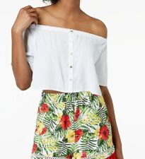 XOXO NEW White Off-Shoulder Buttoned Women's Size Large L Crop Top $39 #273