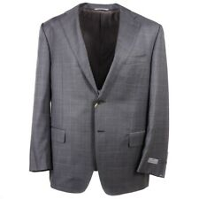 NWT $2195 CANALI Modern-Fit Lighter Gray and Sky Blue Check Wool Suit 44 R