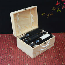 Retro Wine Box Portable Pine Wood Wine Storage Gift Bottle Case for Six Bottles