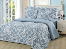6 Piece Quilt Set by Bedding and Linen Plus, Reversible Printed Bedspread Set