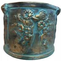 Terra Cotta Blue/Gold Glazed Round Planter