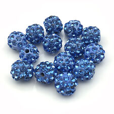 20Pcs Light Blue Crystal Micro Pave Round Disco  bracelet Spacer Shamballa Beads