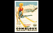 Skiing COMBLOUX FRANCE SKI BABE Vintage 1930 French Alps Art Deco Poster Reprint