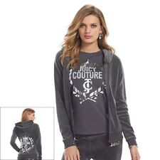 SALE NWT Authentic Women's Juicy Couture Crest  Velour Hoodie  Jacket Charcoal