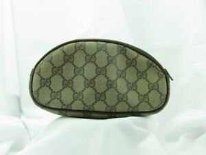 1980's GUCCI GG Monogram coated canvas leather cosmetic toiletry bag pouch
