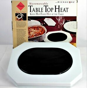 TABLE TOP HEAT Microwaveable Food Warmer Plate With Microcore Keeps HOT Food HOT