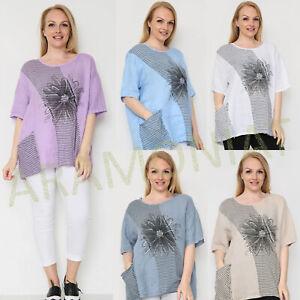 Ladies Floral Stripe Half Sleeve Pocket Holiday Woman Linen Summer Denim Top LV