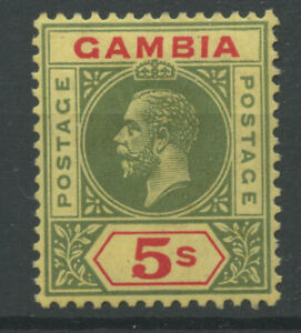 Gambia 1922 SG102 5s green/red pale yellow M/M