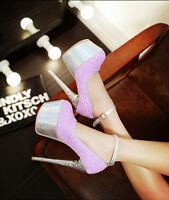 Hot&Sexy Women's Squins Platform High Heels Stiletto Stripper Dance Shoes 16CM