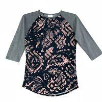 Lularoe Raglan Tee T-Shirt Womens Size S Small Pink Gray 3/4 Sleeve Stretch Fit