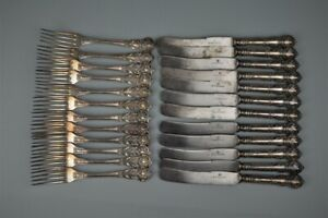 Antique J.Fraget silver plated flatware,19thC