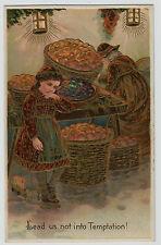 Lead Us Not Into Temptation PFB Gold Details Apples Vintage Embossed Postcard