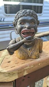Original VINTAGE BLACK AMERICANA DINAH CAST IRON MECHANICAL BANK