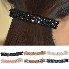 Haarschmuck Kopfschmuck Haarklemmen Haarspange Rechteck Perlen Charm Schwarz NEU