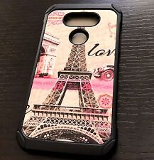 For LG G5 - Hard Rubber Hybrid Armor Impact Phone Case Cover Paris Eiffel Tower