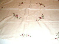 """Vintage Tablecloth 34"""" Square Beige and Roses"""
