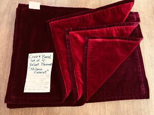 "Crate & Barrel Velvet Placemats (4) Burgundy & Cranberry Red, ""Milano Cabernet"""