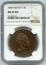 1850 4 Skilling Coin From Sweden. NGC Graded MS 63 BN. Lot #2736