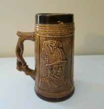 "Beer Stein Mug Beer Drinking Scene Made In Japan 7"" Tall Brown Knight/Guard"