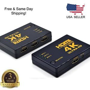 3 Port HDMI Splitter Switch Selector Switcher Hub IR Remote 1080p For HDTV PS3