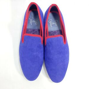 Duke & Dexter Blue w/ Red Trim Suede Loafers Men's Sz 12 New NWOB Never Worn