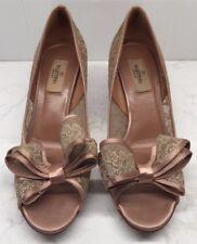 VALENTINO Garavani Pink Nude Lace BOW Peep Toe Low Kitten Heels Shoes Sz 38 1/2