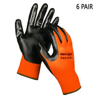 6 Pair Abrasion Resistant Work Gloves Nitrile Foam Palm Coated Safety Size Large