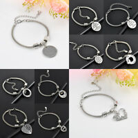 Women's Silver Party Family Bangle Bracelet Love Words Charm Beads Pendant Gifts