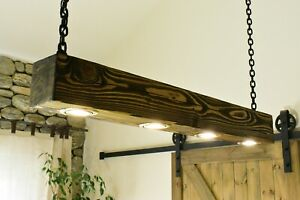 Ceiling Light Vintage Rustic Lamp Wood Beam 4 X LED *HANDMADE*  Dark Oak