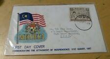 Malaysia 1957 Merdeka Malaya Tunku Abdul Rahman stamp official FDC Ipoh to Ipoh