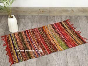 Indian Handmade Striped Design Door Mate Rug Hand Block Print Cotton Area Rugs