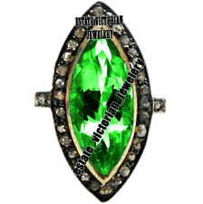 Vintage 1.21Cts Rose Cut Diamond Emerald Studded Sterling Silver Jewelry Ring