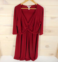 Love Squared Knit Dress Women's Plus Size 2X 3/4 Sleeve Twist Front Red A-Line