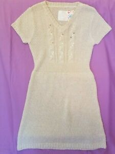 NEW JUSTICE WHITE SEQUIN SWEATER DRESS SZ 10 GLITTER KNIT V NECK SHORT SLEEVE