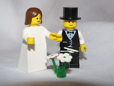 LEGO BRIDE & GROOM w/ BLACK SHOULDER HAIR Wedding Minifig minifigure cake topper