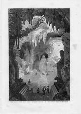 Stampa antica TOURANE tempio buddista sotterraneo DA NANG Vietnam 1861 Old print