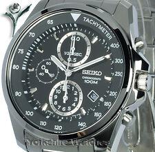 Nouveau seiko quartz cadran noir chrono avec bracelet en acier inoxydable sndd 63P1