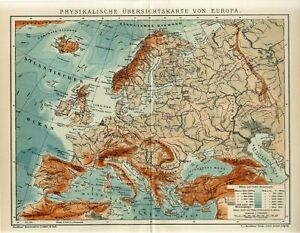 1910 EUROPE PHYSICAL MAP Antique Map dated