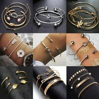 Womens Boho Stainless Steel Cuff Open Bracelet Bangle Gold Chain Jewelry Sets