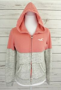 Hollister Cali Hoodie Womens Small S Pink Gray Zipper Long Sleeve Fleece Lined