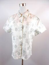 Linen Shirt Blouse White Floral Casual Business Style Women's Size XL UK 16 BE84