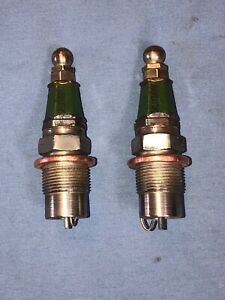 "2 SPLITDORF Green Hex 7/8"" Vintage Antique Spark Plugs Buick Chevy Studebaker"
