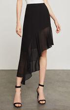 New Women's Bcbg Max Aria Asymmetrical Ruffle-Trimmed Skirt SZ XS Black