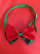 Christmas Dog Cat Bow Tie - Small Dog Breed Satin Adjustable Collar red green